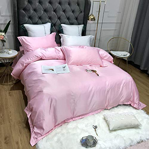 geek cook Bedding Set,Simple modern style Pure cotton washed silk four-piece set solid color embroidery kit home comfortable bedding bed linen-007_2.0M Bed linen