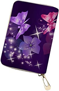 Advocator Credit Card Holder Case with Zipper ID Window Butterfly Floral Pattern RFID Blocking Wallet PU Leather