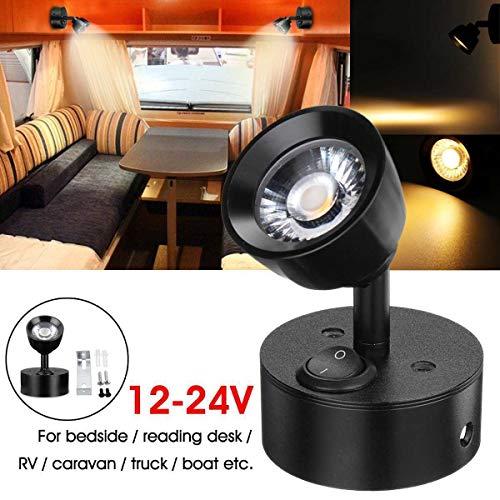 Riloer - Foco LED de montaje en pared interior ajustable de 12 V para barco de remolque, caravana RV, con interruptor, luz blanca