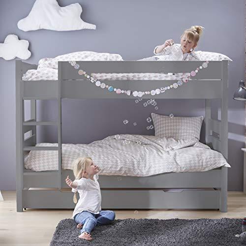 Alfred & Cie Tom - Litera + cama nido 90 x 190 cm, color gris Koala