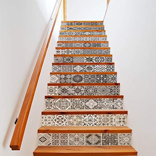 ZUSFUL 13 Pcs Pegatinas de Pegatina de Escalera 3D Pegatinas de Azulejos Ecológicas Impermeable Calcomanía Arte Decoración de Pared 18 X 100cm,B