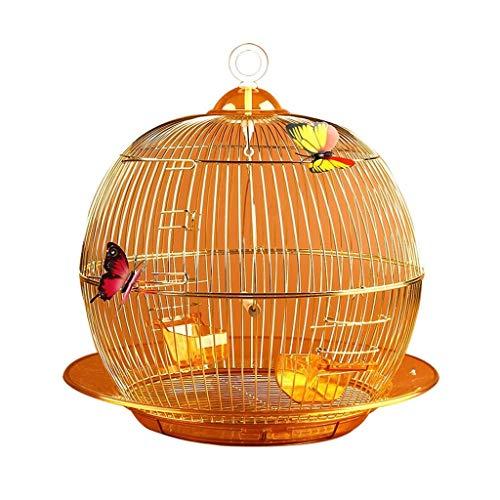 Xinxinchaoshi Stilvoller und exquisiter runder Papageienkäfig Dekorierter Ziervogelkäfig Innen- und Außenvogelzuchtkäfig (Gold)