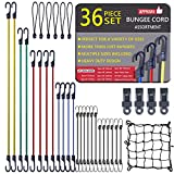 36 Pack Bungee Cords with Hooks in Assorted Sizes Rubber Bungee Straps Mini Bungee Cords with Balls, Tarp Clips, Cargo Net and Carrying Case