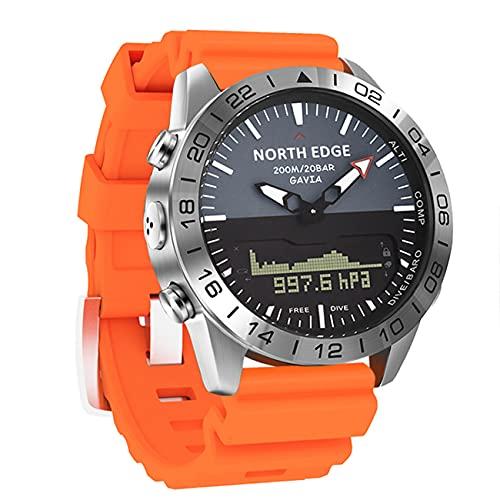 Reloj Deportivo para Hombre, 20BAR Reloj Inteligente A Prueba De Agua con Retroiluminación LED/Brújula/Altímetro/Barómetro/Termómetro, para Senderismo Al Aire Libre,Naranja