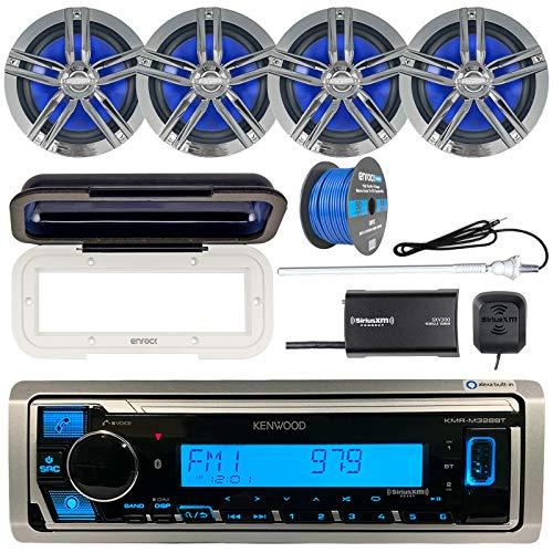 "Kenwood Single DIN Marine Bluetooth Receiver, Radio Cover, 4X Enrock Marine 2-Way 6.5"" Speakers (Charcoal), Satellite Radio Tuner Kit, Marine Radio Antenna - White, 50 Foot 16-G Tinned Speaker Wire"