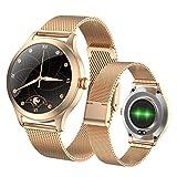 Fitonme Reloj Inteligente con Rastreador de Ejercicios - IP68 Smartwatch de Actividad Deportiva Femenina Impermeable con Frecuencia Cardíaca, Presión Arterial, Sueño, Contador de Calorías (Oro)