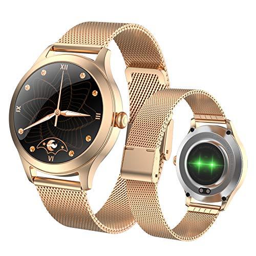 Fitonme Reloj Inteligente con Rastreador de Ejercicios - IP68 Smartwatch de Actividad Deportiva Femenina Impermeable con Frecuencia Cardíaca, Presión Arterial, Sueño, Contador de Calorías (Oro