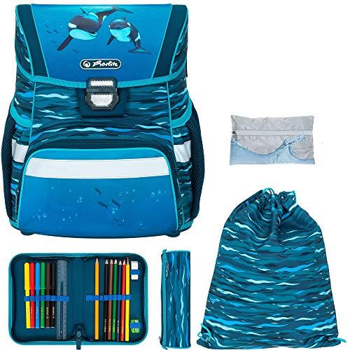 Schulranzen Herlitz Loop Plus Jungen Mädchen Ranzen Tornister Schultasche leicht 5 Teile Set mit Regenhülle (Oceanside 2525)