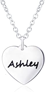 You Are in My Heart Personalized Name Necklaces for Women Girls Kids Engraved with Silver Girlfriend Script Pendant Carved Custom, Simple