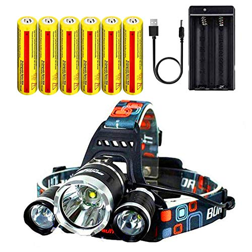 Headlamp 20000 Lumen,Rechargeable Headlamp Ultra Bright CREE LED Headlamp Flashlight Waterproof Hard Hat Light for Adults,Outdoors Work Headlight,Best Gifts(Charging equipment and Battery Included)