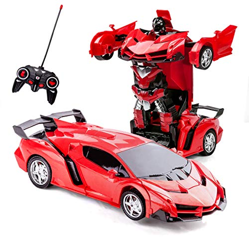 Highttoy Coche Teledirigido Robot,Transformers Juguete para Niños 3-12 Años Regalos de Cumpleanos Coche Robot RC Coche Transformador de Control Remoto Robot Juguetes para Chicos Chicas Rojo