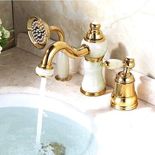 CLJ-LJ Grifo Latas de riego Latas de agua Pulverizadores Grifo de la bañera de latón Cubierta de oro Juego de 3 piezas de cerámica diamante mano ducha lavabo lavabo mezclador