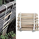 YXYOL Nylon Rope Non-Slip Wood Plank Engineering Ladder,Soft Ladder Rope Ladder,High Altitude Fire Escape Ladder,Household Outdoor Climbing Rope Ladder,5m