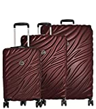 Delsey Alexis Lightweight Luggage Set 3 Piece, Double Wheel Hardshell Suitcases, Expandable Spinner Suitcase with TSA Lock and Carry On (Burgundy, 3-piece Set (21'/25'/29'))