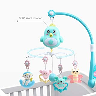 Develoo Baby Musical Crib Mobile with Timing Function Projector, Baby Bed Bell Hanging Rotating Rattles Remote Control Cradle Musical Box Gift Toy for Newborn 0-18 Months