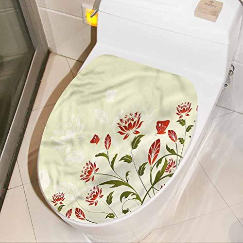 Adhesivo decorativo para asiento de inodoro, diseño de flores florales, decoración divertida, decoración de baño para inodoro, baño, silla, sofá, 30 x 16 pulgadas