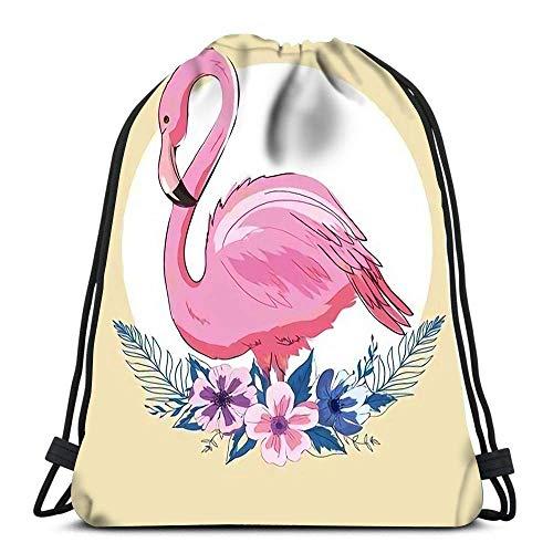 Lmtt Drawstring Bags Backpack Pink Flamingo Travel Backpacks Tote School Rucksack