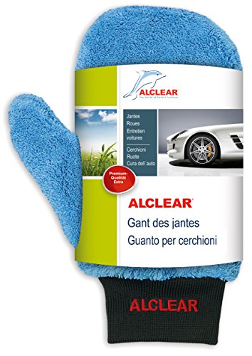 Alclear 950013IF Guanto Pulente in Microfibra per Cerchioni Migliore dei Detergenti Chimici, 26 x 12 cm, Blu