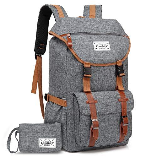 CoolBELL Laptop Rucksack Studenten Schulrucksack Reise Rucksack/sportlich Knapsack lässiger Daypack/ 17 Zoll Laptop Backpack Herren Notebook Schultasche für Uni/College/Outdoor/Wandern(Grau)