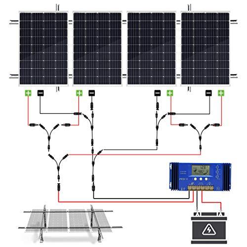 ECO-WORTHY 480 Watt Solarmodul Kit mit Solarmodulen + Laderegler + Kabel + Halterung für Bauernhof, Garten, Netzunabhängig, Hütten, Haus, AGM Lithiumbatterie Solarstrom