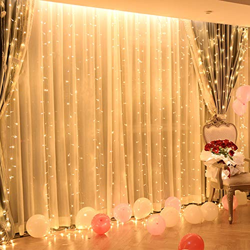 Silingsan Cortina de Luz, Cadena de Luces 600 LED 6 x 3M 8 Modos Impermeable Anticongelante para Bodas Fiesta Navidad Casa Interior Exterior Blanco Cálido