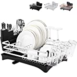 Rottogoon Aluminum Dish Drying Rack, 16.5' x 11.8' Compact Rustproof Dish Rack and Drainboard Set, Dish Drainer with Adjustable Swivel Spout, Removable Cutlery and Cup Holder, Black & Silver