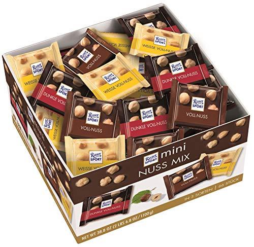 RITTER SPORT mini Nuss Mix Thekendisplay (1,1 kg), Vollmilch, Weiße & Dunkle Schokolade, mit ganzen Haselnüssen, knackige Tafelschokoladen, Großpackung