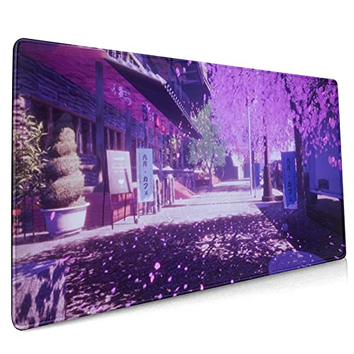 Cherry Blossom Sakura Gaming Mouse Pad 35.4×15.7inch with Stitched Edges Extended Waterproof Desk Pads Non-Slip Rubber Base Large Keyboard Mat Computer Gaming Mousepad for Work/Office/Home (Six)