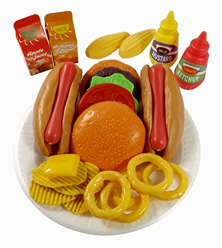 PowerTRC Fast Food Pretend Play Set | Includes Burger, Hot Dog, Potato Chips, Onion Rings, Corn and More Accessories | Cooking Play Set