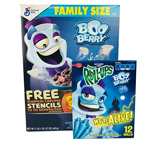 General Mills Boo Berry Cereal And Boo Berry Fruit Roll-Up Fun Pack! Matching Boo Berry Cereal And Boo Berry Fruit Roll-Ups! Boo Berry Fan? We Have You Covered With A Fun Variety 2-Pack!