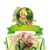LYNHEVA Glitter Tinker Bell Cake Topper, Disney Fairy Tinker Bell Inspired Cake Topper, Peter Pan Theme Birthday Party Suppliers, Girls Bday Fairy Party Favor