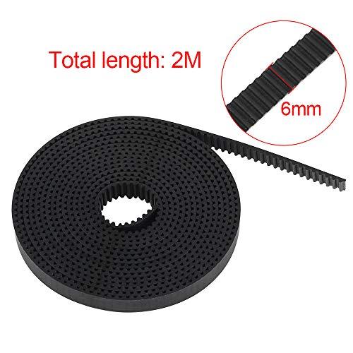 GT2 Zahnriemen für 3D-Drucker, BCZAMD 2 Meter (6.5 Ft) Länge Offener Riemen 2mm Teilung 6mm Breite Glasfaserverstärkter Gummi für RepRap Monoprice Prusa i3 Anet A8 CNC-Teile Zubehör