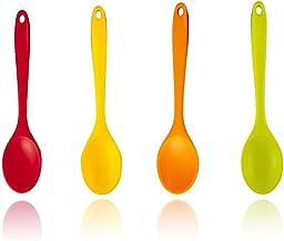 4 Pieces Silicone Mixing Spoon, Silicone Nonstick Mixing Spoons Set 4, BPA Free 500F Heat Resistant, Utensil Spoon Non-Sti...