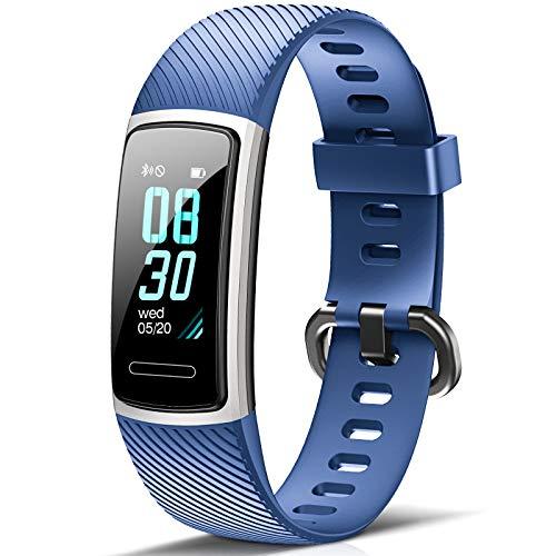 FITFORT Fitness Armband mit Pulsmesser- IP68 Wasserdicht Fitness Tracker Smartwatch, schrittzähler, Schlafüberwachung,Sitzende Erinnerung Aktivitätstracker,Damen Herren Anruf SMS SNS Beachten, Blau