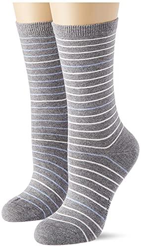 ESPRIT Damen Fine Stripe 2-Pack W SO Socken, Grau (Light Grey Melange 3390), 39-42 (2er Pack)