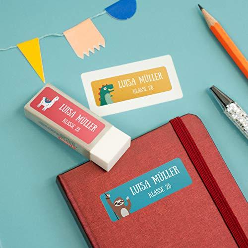 sendmoments Aufkleber für Kinder, Bunter Mix, viele Motive und Farben, 99 Sticker rechteckig 48 x 16 mm, selbstklebend, personalisiert mit Namen für Schule, Sport und Freizeit