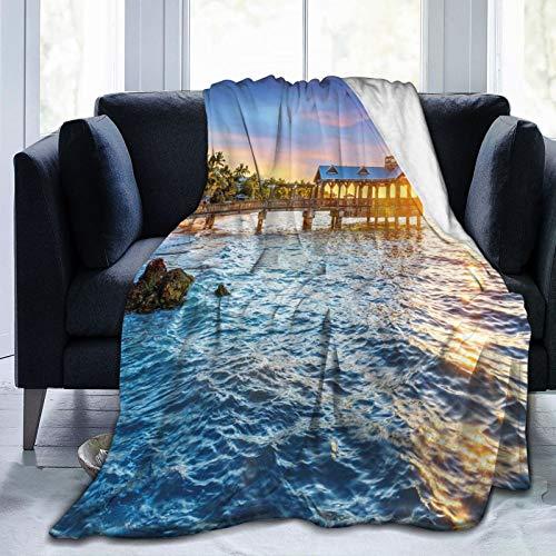 Manta mullida, Pier At Beach In Key West Florida Usa Tropical Summer Paradise - Manta para bebé, ultra suave, para dormitorio, cama, TV, 203 x 152 cm