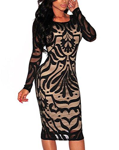 Laisla Fashion Abito da Cerimonia Donna al Ginocchio Eleganti Vintage Pizzo Tubino Vestiti Abiti da Sera Manica Lunga Rotondo Collo Backless Chic Vestito