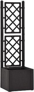 vidaXL Podwyższona grządka ogrodowa z pergolą, system samonawadniający, wzór rattanowy, pergola ogrodowa, donica na roślin...