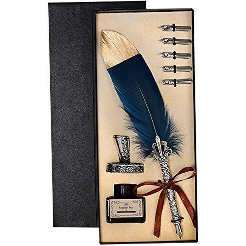 IWILCS Stylo Dip à plume, Stylo Dip à la main, Stylo Plume Vintage Dip, avec 5 pointes de rechange et ensemble de Calligraphie de Base de Plume (bleu),Bouteille Vide