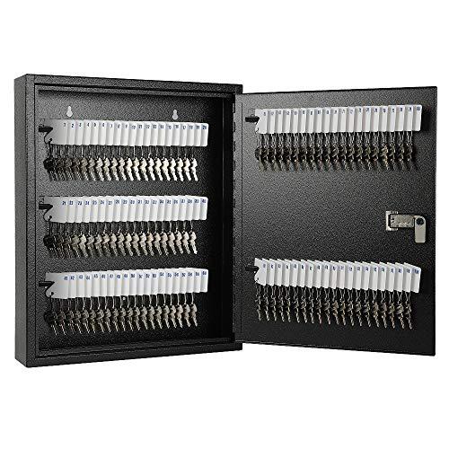 "KYODOLED 100Keys Key Cabinet Organizer,Key Management Wall Mount,Large Keys Storage Lock Box,17""x 12.99"" x 3.26"" 100keys Black"