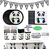 DreamJ 121Pcs Panda Party Supplies, Panda Disposable Tableware Set with Panda Plates Cups Napkins Straws Panda Banner Tablecloth Popcorn Boxes Cake Topper Dragon Blowing For Baby Shower Decorations