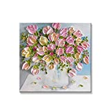 HUANGRONG Hermoso Resumen de Flores de tulipán Rosa Mano Pintura al óleo Pintada en la Pared de la Lona Cuadro Colgante for la Sala del Fondo del sofá Decorativos Cuadros