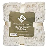 1i4 Group Outrageously Soft Throw Blanket - Ultra Plush Minky Faux Fur Blanket - 50 x 70 Inches - Tan