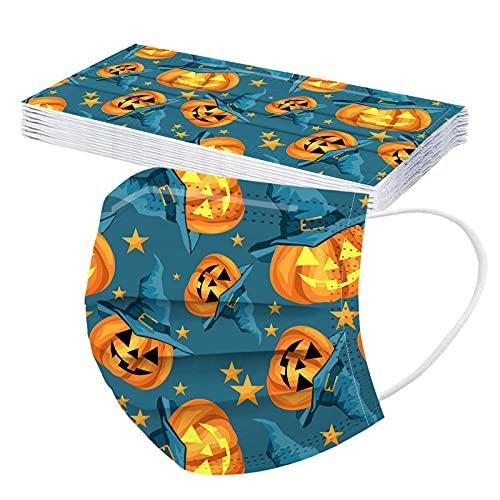 10PCS Children Halloween 3Ply Dustproof Shield for Kids Cute Pumpkin Breathable Bandanas for Boys Girls (B, M)