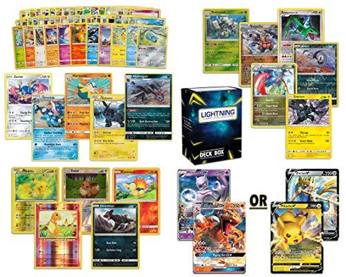 Ultimate Pokémon card bundle 70+ random cards= 50 cards + 5 foils, 5 rare cards, 6 foil/ holographic rare,2 V card or Gx card  + FREE Lightning Card Collection deck box