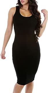 Women's Sleeveless Scoop Neck Knee Length Casual Bodycon Tank Dress