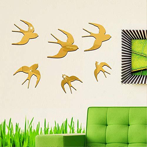 DIY, Etiqueta de La Pared Engomada - Hogar decorativo espejo acrílico pegatinas de pared-dorado