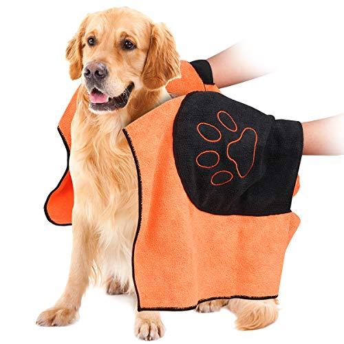 VIKEDI Hundehandtuch, Mikrofaser Hundebademantel Handtuch für große und mittlere Hunde, Katzen, Haustier Badetuch mit Hand Taschen, Ultra-saugfähig, Langlebiges, Doppelte Dichte, Maschinenwaschbar