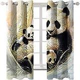 SSHHJ Cortinas De Animales Panda Goldfish Cortinas Lavadas De Poliéster 3D Adecuadas para Jardín Balcón Cortinas Opacas De Dormitorio 12 Piezas